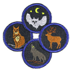 Patch 4 little owls deer lynx wolf as knee patches blue round