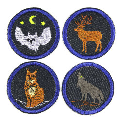 Iron-on patches 4 little owl stag lynx wolf as blue jeans patch round