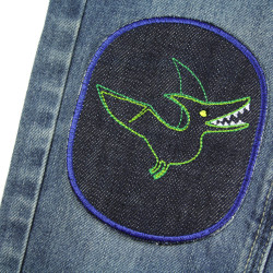 Jeans patches with dino large on jeans blue flying dino as dinosaurs for children
