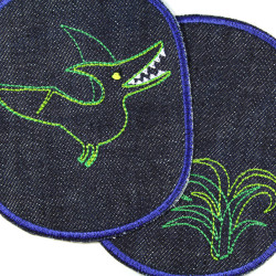 Dinosaur and palm patches to iron on green on blue partly metallic thread for children as large iron-on patches