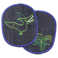 Patch set with dino and palm tree to iron on large jeans patch for children