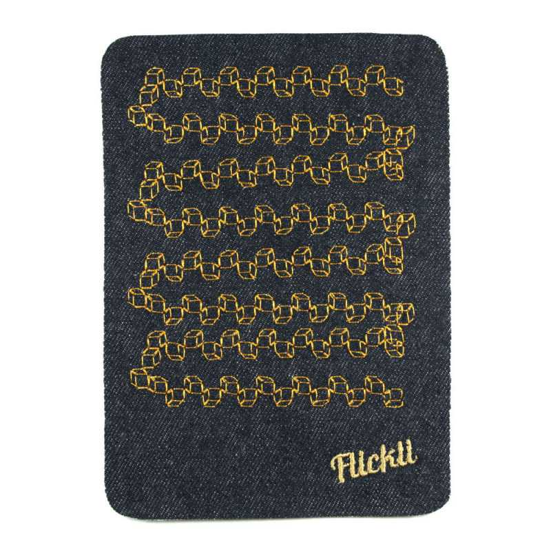 Patch with graphic pattern Jeans patch graphic in neon yellow with label Flickli - detachable