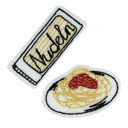 Iron-on patches pasta on the plate and iron-ons Pasta Spaghetti Pack of iron-on appliques