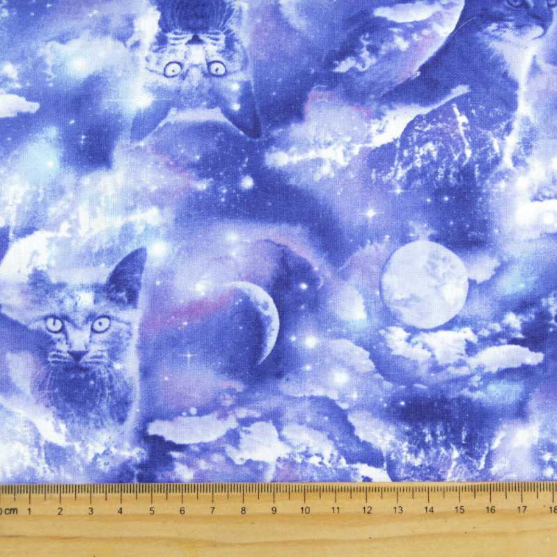 Seahorse fabric bright with small maritime fish motifs