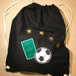 black backpack with football iron-on patches individual design with iron-on patches