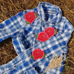 Shirt checkered with roses iron-on patches individually designed clothes with appliques