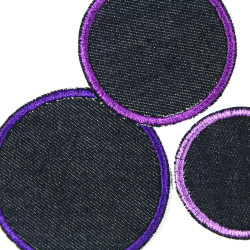 Pants patches 3 pieces circles patch purple textile repair appliques for girls