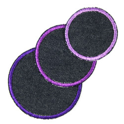 Pants patches around 3 pieces to iron on purple violet organic denim