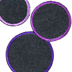 Jeans patches organic iron-on patches 3 pieces round purple tones