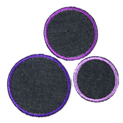 Patch set 3 round iron-on patches purple violet as trouser patches