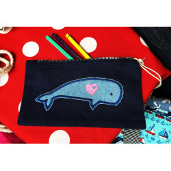 individual pencil case with whale iron-on applique