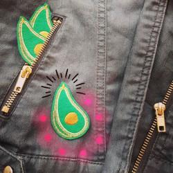 Denim jacket with Avodao iron-on pattern individually designed