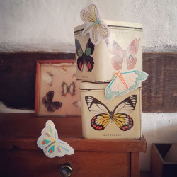 Tea boxes with butterflies and moths iron-on patches as decoration