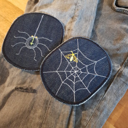 Repair children's trousers easily with knee patches, iron on the spider, trouser patches for kids and you're done