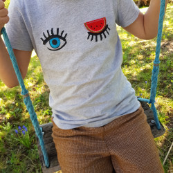 cool patches and individual shirts designed for children with melons iron-on applique