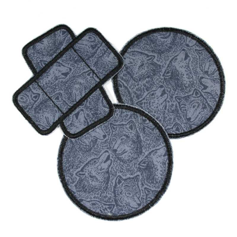 3 patches to iron on gray black with wolf motif