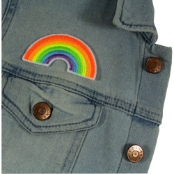 Denim jacket with rainbow patch small as an iron-on applique