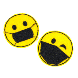 2 smiley patches to iron on small round iron-on appliques with mask