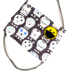 Mouth-nose cover made of skull fabric with smiley patch in yellow black