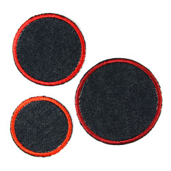 3 round jeans patches to iron on in 3 sizes blue red trouser patches