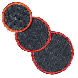 3 iron-on patches as jeans knee patches round in 3 sizes to iron on