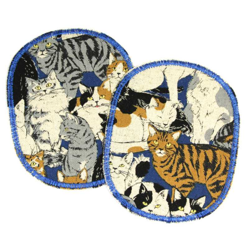 2 iron-on knee patches with cats for children