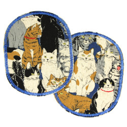 Iron-on trouser patches for children with a cat motif