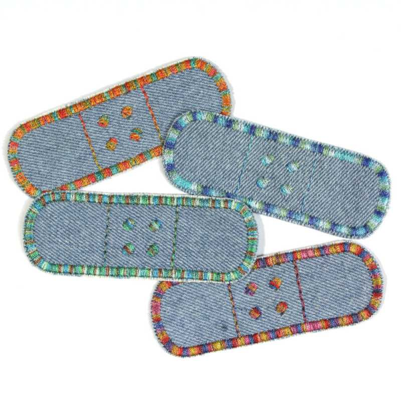 Iron-on patches jeans light blue 4 small patches for ironing on plasters with colorful gradient colors
