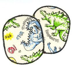 2 large iron-on dinosaur patches as colorful trouser patches for children