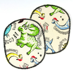 2 large iron-on patches, colorful dinosaurs on white for kids