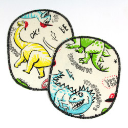 2 iron on patches with colored dinosaurs to fix for trousers on the knees