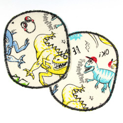 2 large dinosaur iron-on transfers suitable as trouser patches and knee patches