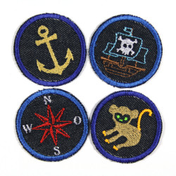 4 small round jeans iron-on patches monkey ship anchor compass maritime motifs for children