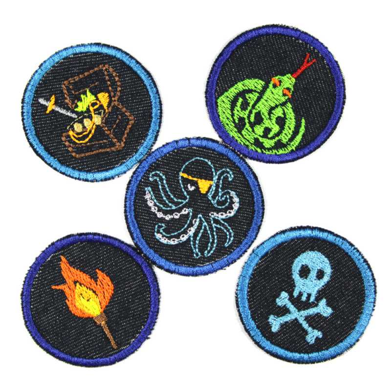 Jeans patches small round to iron on maritime motifs for children octopus torch snake skull trouser patches