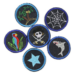patches for children pirate shark parrot spider web island with palm tree and star on jeans blue round small iron-on patches
