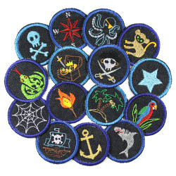 Trouser patches pirates for kids Knee patches for a whole gang of pirates 15 patches to iron on, small round jeans patches