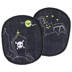 large knee patches for children with creepy bat and cemetery motif pant patches ghosts