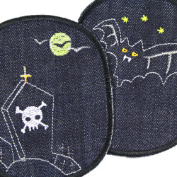 Iron-on patch jeans for children to iron on ghost tombstones and bats for kids