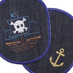 12 x 10cm jeans patches anchor and ship motif for children to repair pants
