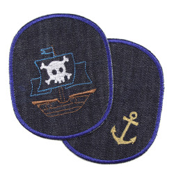 Jeans patches with pirate ship and anchor large iron-on trouser patches for children