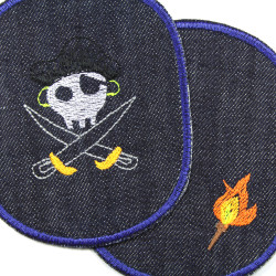 Skull pirate and torch on knee patches, large blue jeans for children's trousers to iron on