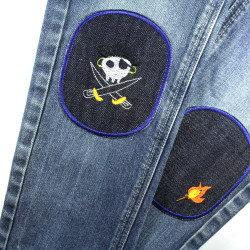 Children's trousers jeans mend with pirate and torch patches to iron on large iron-on patches