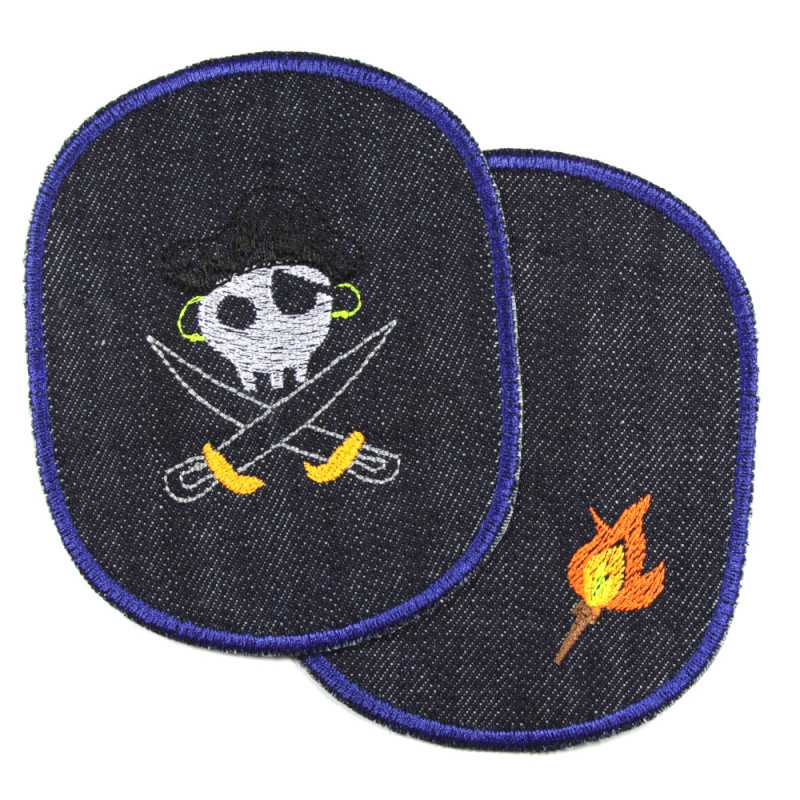 Trouser patches pirate and torch iron-on patches jeans large for children