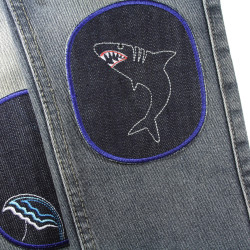 Jeans with patches shark and water wave as knee patches for children's trousers