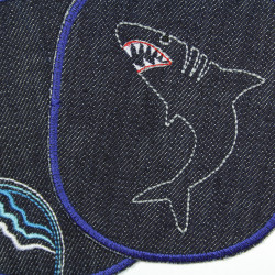 Iron-on patches jeans with shark large iron-on patches for children