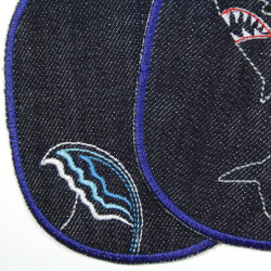 large iron-on patch with wave motif