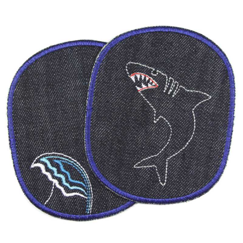 Knee patches with shark and wave jeans patches for kids
