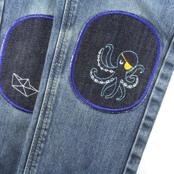 Children's jeans with iron-on patches octopus and ship jeans patches to iron on