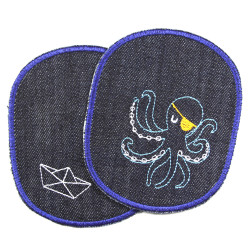 2 large iron-on jeans patches for children with an octopus and a folding boat