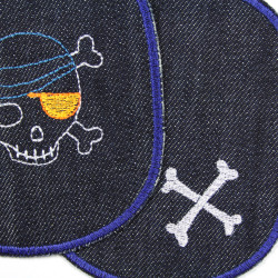crossbones on kid jeans patches, large knee patches